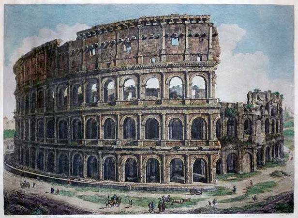Colosseum hand-coloured reproduction print from Views of Rome