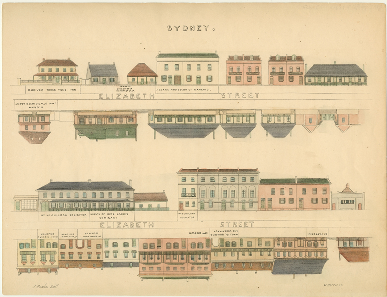 NSW. Fowles Sydney street elevation. Elizabeth Street engraving c1848