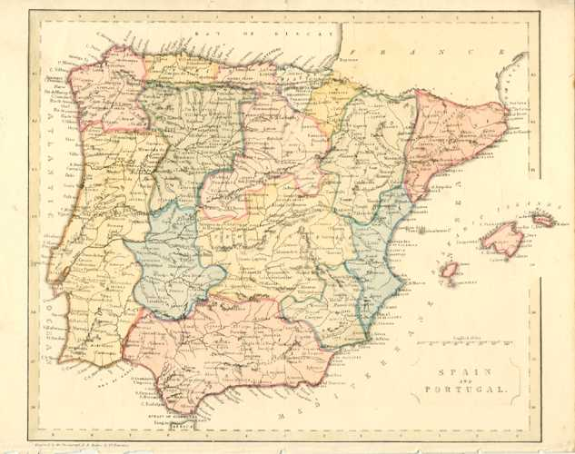 Spain and Portugal Antique Map by Becker. c1860