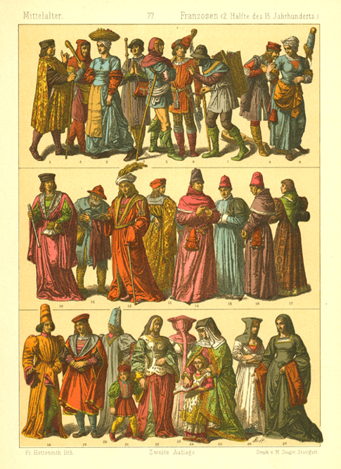 Middle Ages French Fashion of 15thC. Hottenroth lithograph c1886.