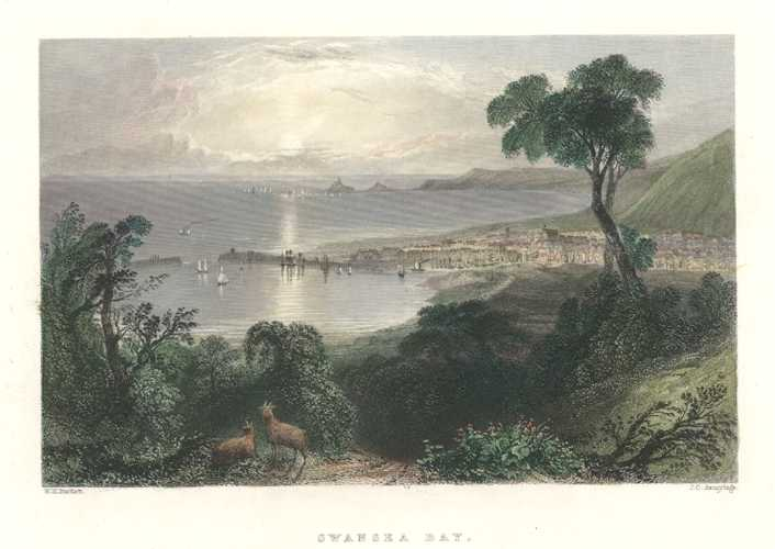 Swansea Bay, Bartlett view engraved by Armytage. Finden c1840.