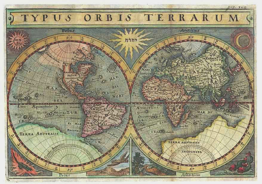 Small World Map, Typus Orbis Terrarum. Heritage Editions reproduction (c1640).