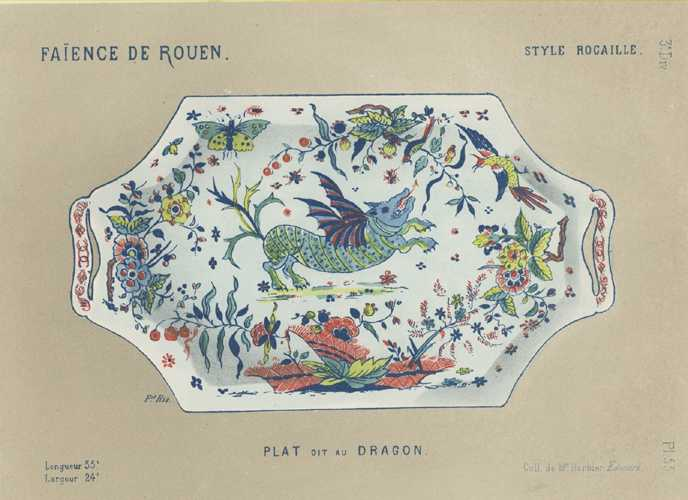 Faience Porcelain Dragon Plat - Delaroque antique print