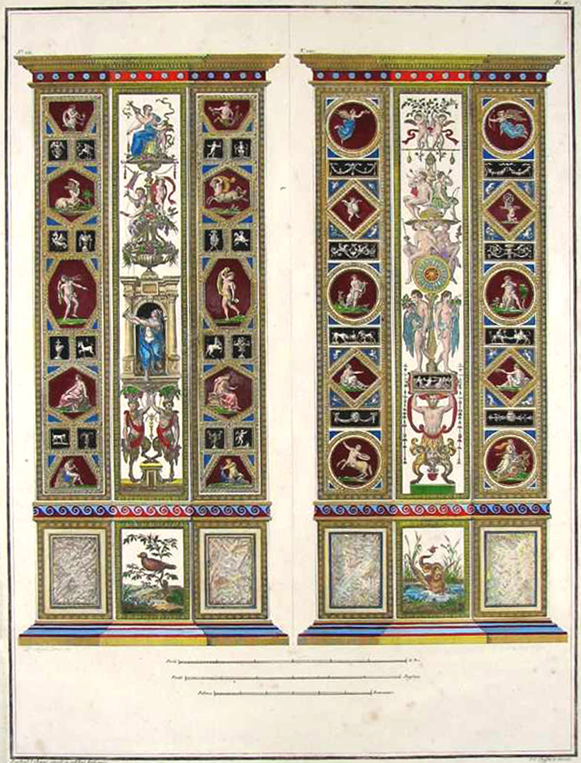 Vatican frescoes on Raphael Pilaster fronts. Engraving c1813