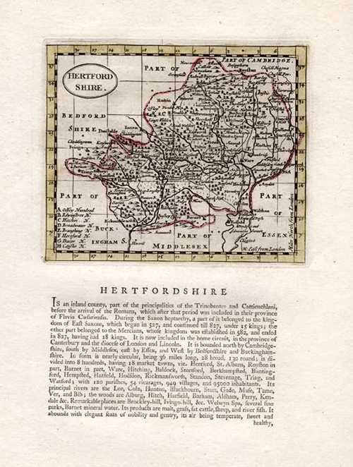 Hertfordshire Antique Map by Seller after John Speed. Francis Grose c1787