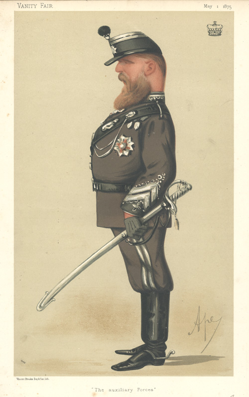 The Auxiliary Forces. Vanity Fair lithograph by 'Ape' c1875.