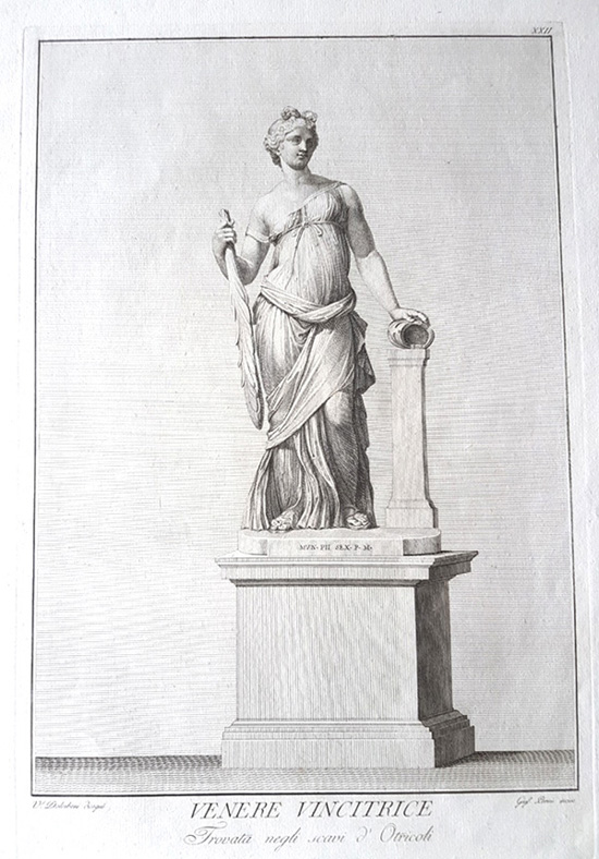 Venere Vincitrice classical statue. Dolcibene engraving for Visconti c1784.