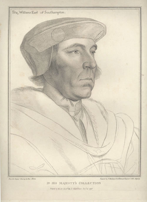 Holbein portrait of Fitzwilliam Earl of Southampton. Bartolozzi c1793
