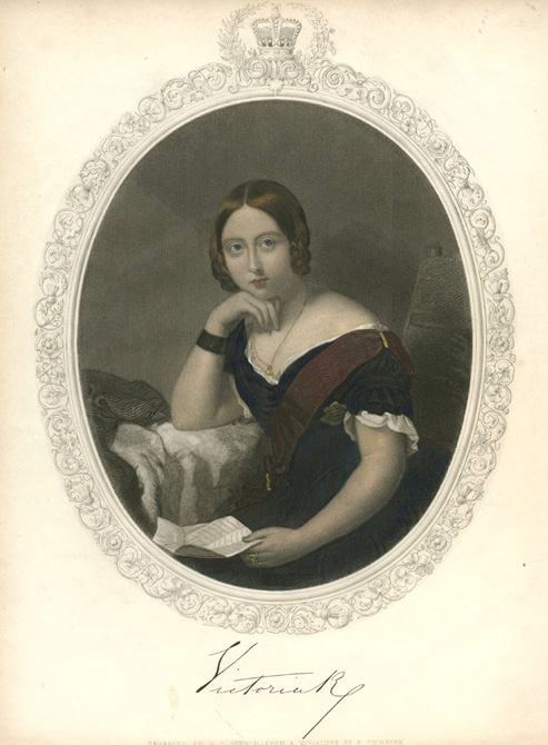 Victoria R. beautiful oval portrait engraving. Robinson c1847
