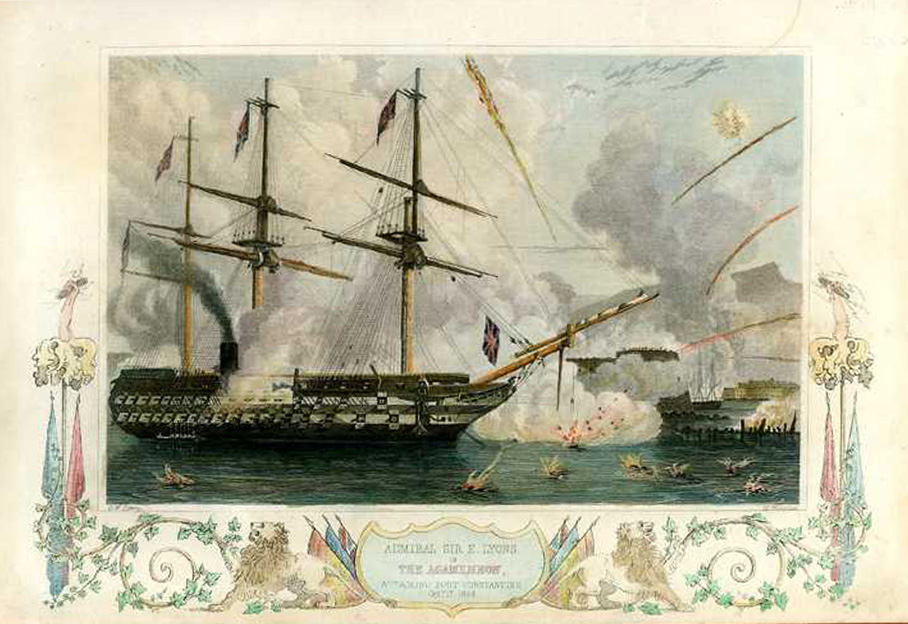Admiral Sir Edmund Lyons, the Agamemnon attacking. Tallis c1854