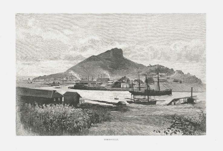Townsville engraving c1886, after Julian Rossi Ashton.
