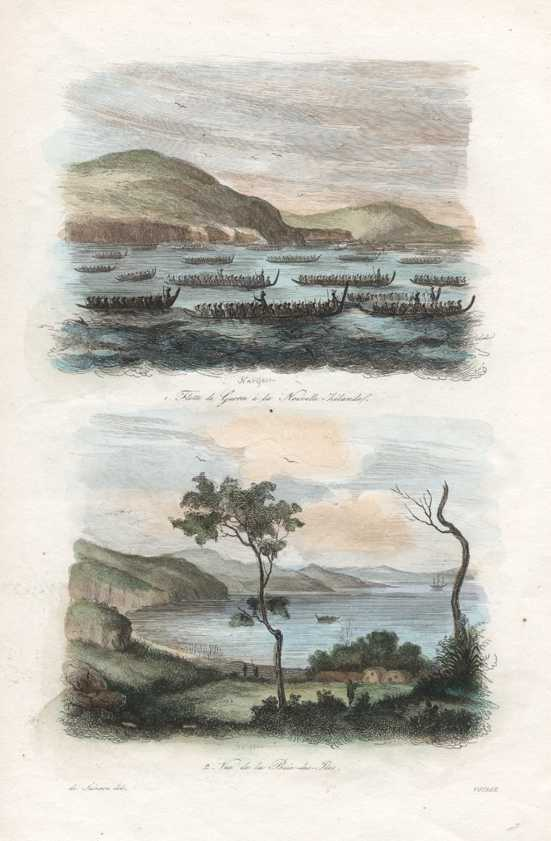 N.Z. Maori War Canoes & Bay of Islands. c1834