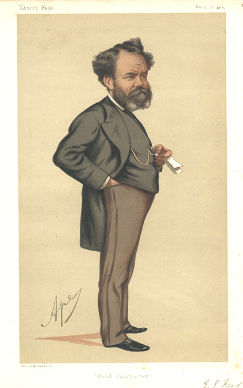 """Naval Construction"" Vanity Fair lithograph. Caricature of Mr. Edward James Reed, C.B. c1875."