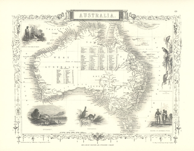 Australia, Heritage Editions Tallis map from mid-19th century.