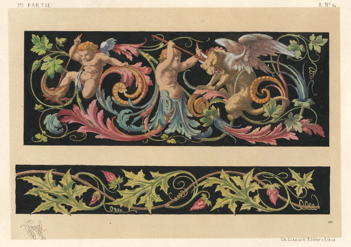 Dietterlin classical frieze. Claesen lithograph c1866