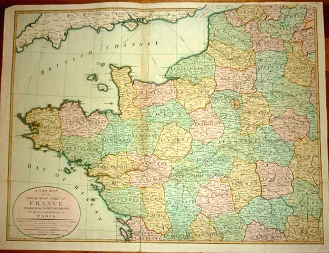 North-West Part of France with Paris major routes c1802