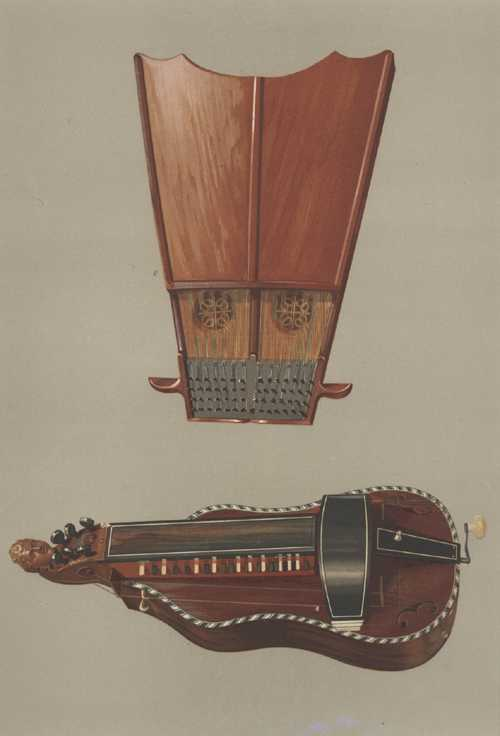 Ancient instruments, Bell Harp and Hurdy-Gurdy. Lithograph c1888.