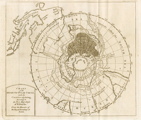 Chart of the Antarctic Polar Circle. Philllipe Buache, c1763.