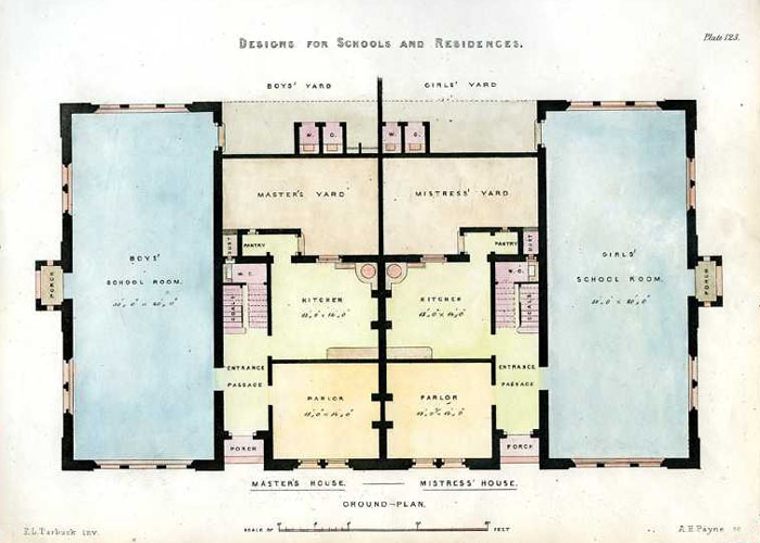 English Architectural Design for Schools and Residences, Floorplan. c1850