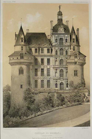 French Chateau de Brissac lithograph c1860. French chateaux