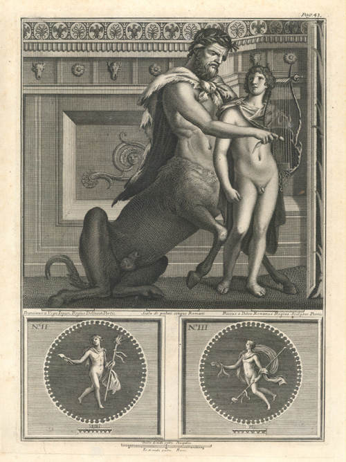 Centaur playing lyre, with young man. Fresco engraving.