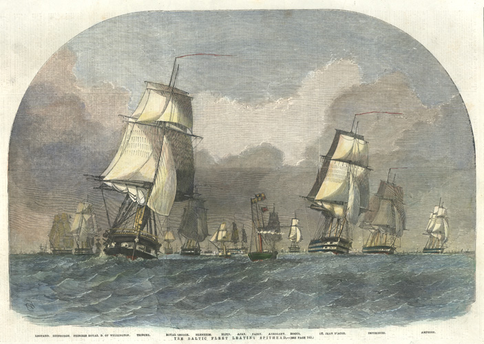 Baltic Fleet Leaving Spithead. Crimean War antique print c1854