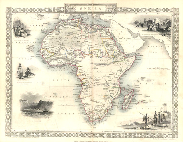 Africa. Finely-engraved decorative antique map, John Tallis c1853.