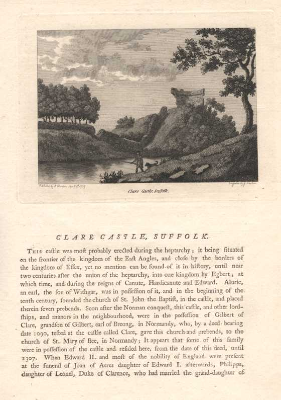 Grose engraving of Clare Castle, Suffolk with text. c1785