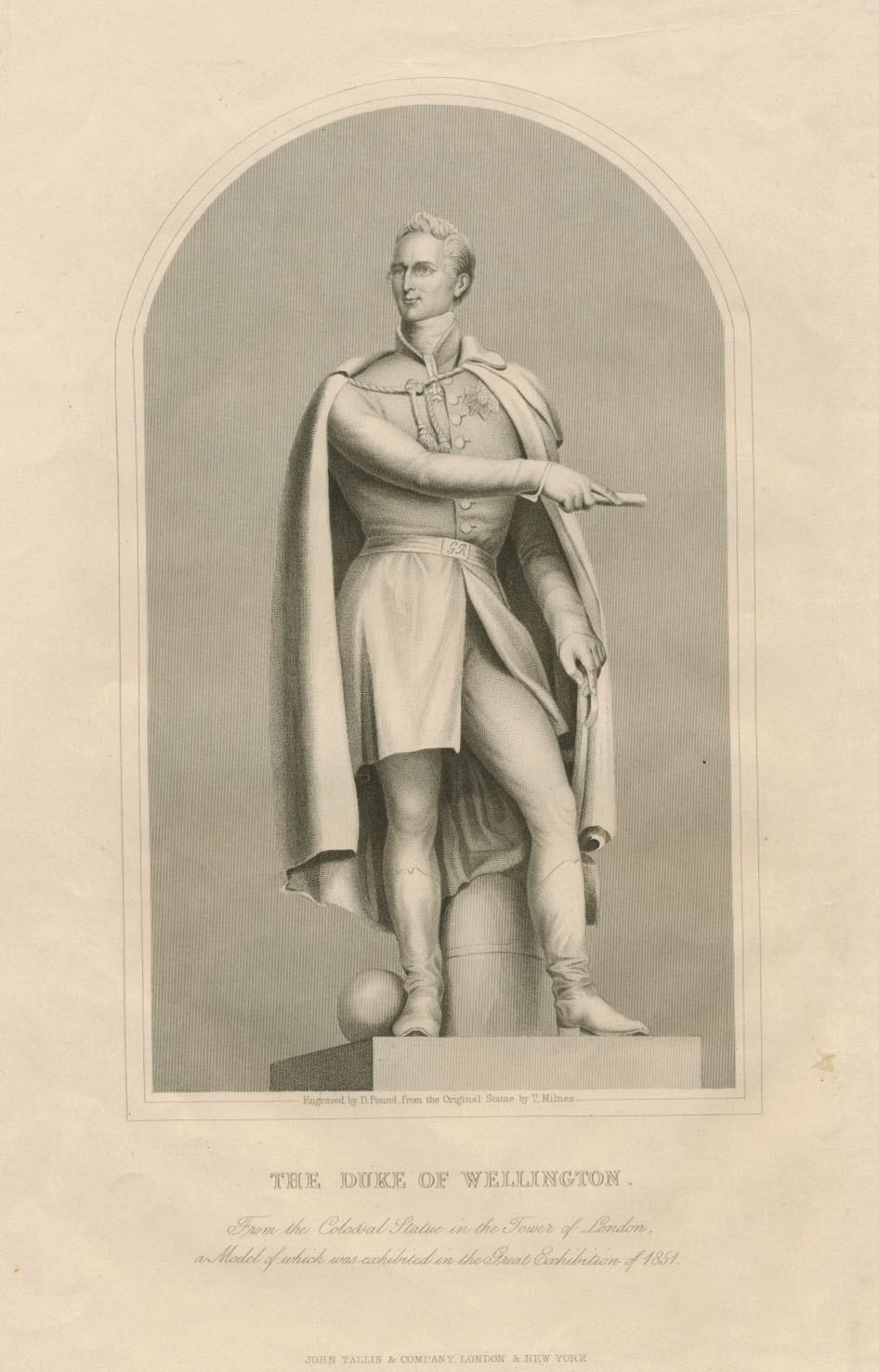 Duke of Wellington Statue in Tower of London. Engraving c1850
