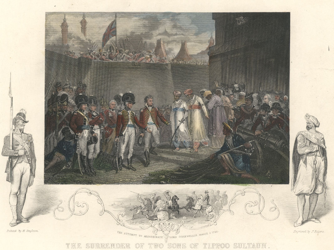 Tallis. Tipu Sultan. Surrender of 2 Sons of Tippoo Sultaun. Tallis engraving c1856.