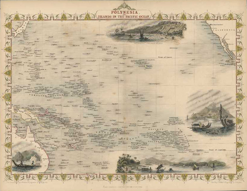 Tallis decorative map of Pacific Islands and Australia. Polynesia, c1853