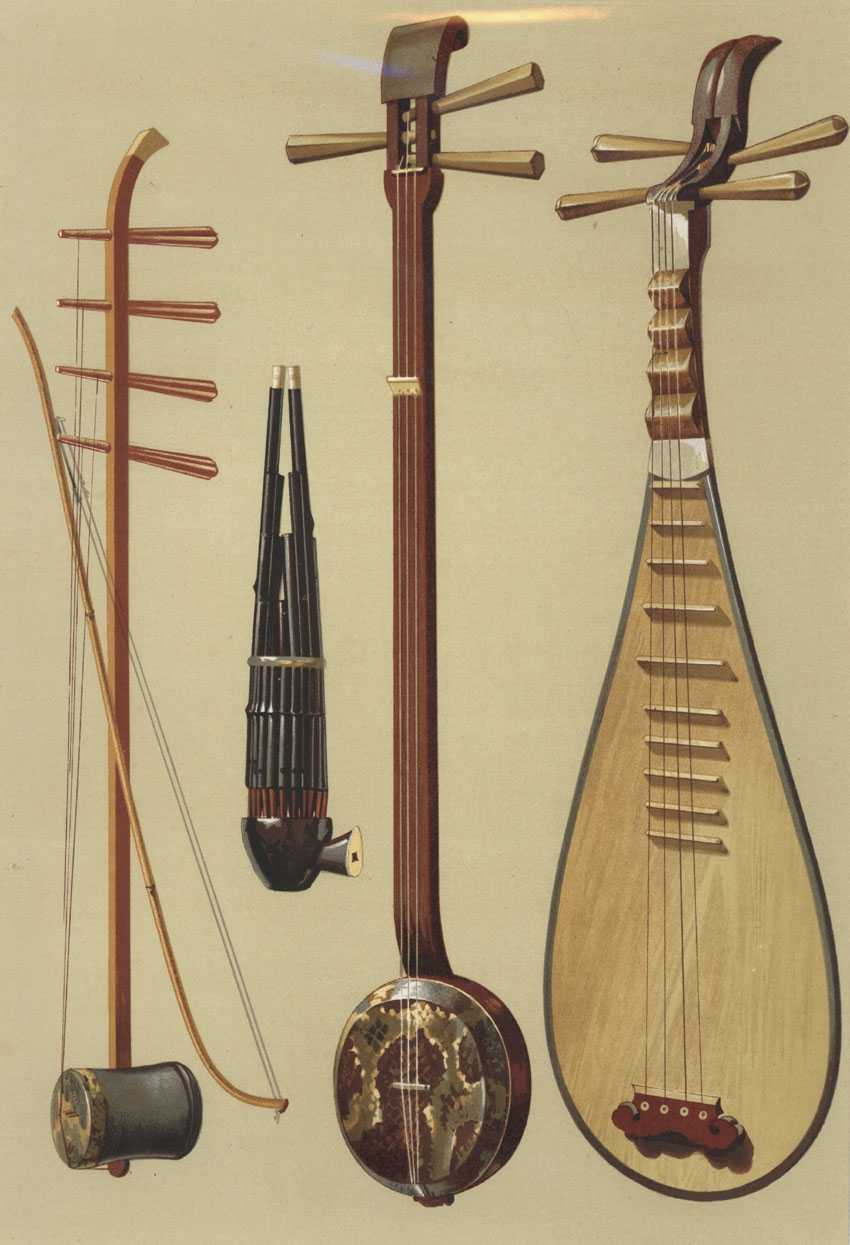 Hipkins' Musical Instruments. Chinese Instruments lithograph c1888