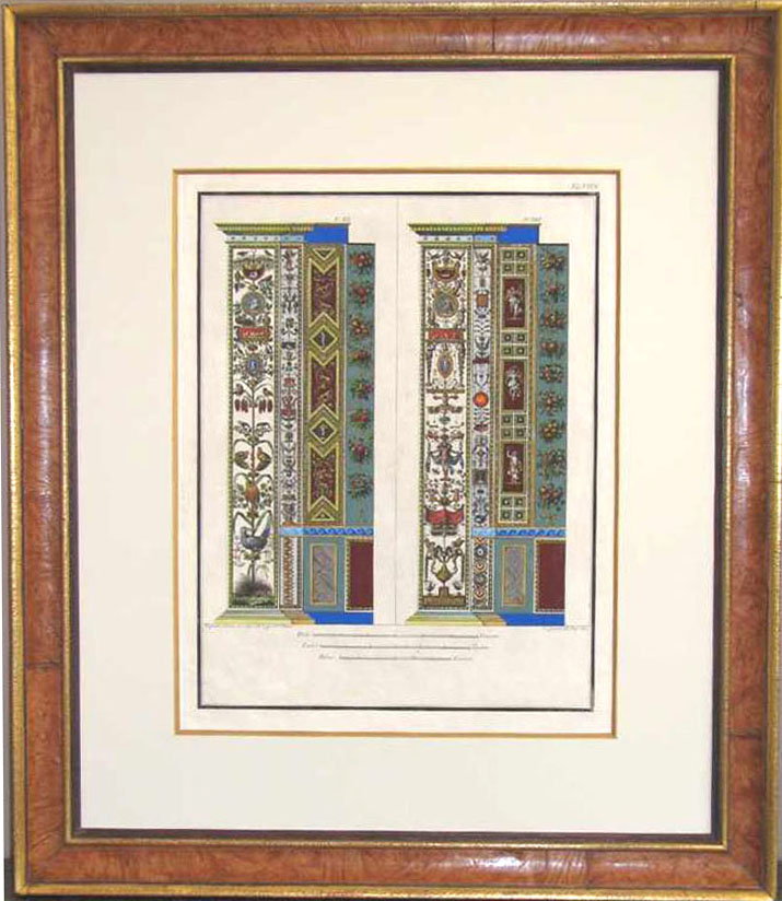 Antique-style-framed original 18thC engraving of Raphael pilasters.