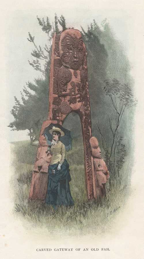 N.Z. Maori Carved Gateway of an Old Pah. Antique Print c1888