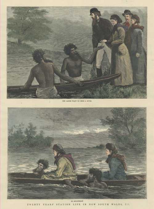 Ladies crossing River in canoe with aborigines. Station Life in NSW. c1883