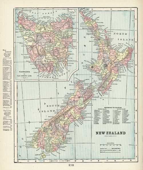 50%-off antique map of New Zealand and Tasmania c1894.