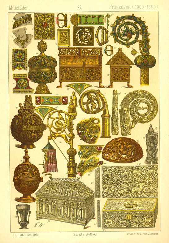 French artisan work in Middle Ages (1000-1200). Hottenroth c1886.