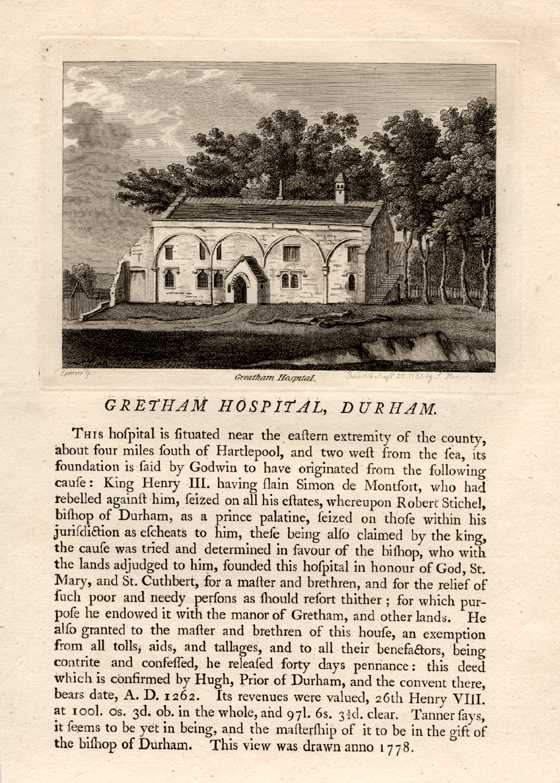 Grose engraving of Gretham Hospital, Durham with history. c1785