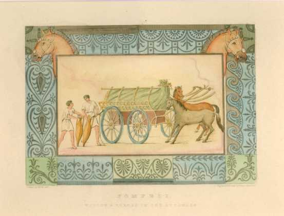Pompeii: Wagons & Horses in the Luponare. Antique Print c1817
