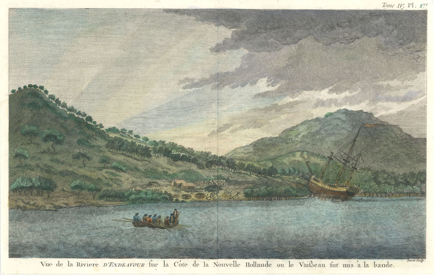 Cook's 'Endeavour' aground for repairs (near Cooktown). c1774