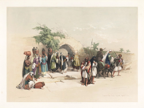 David Roberts Fountain of the Virgin, Nazareth 1839. Lithograph c1844