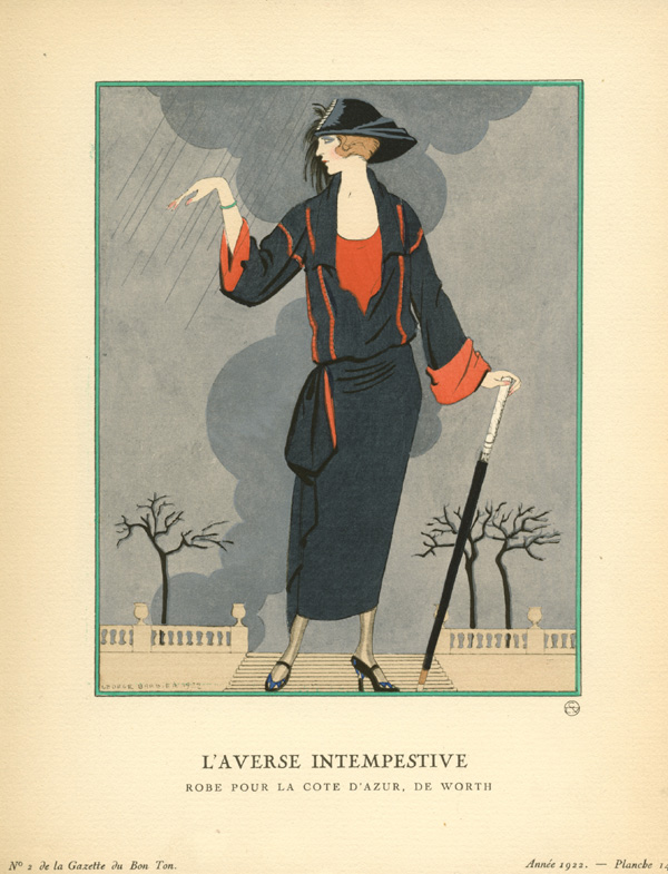 "Untimely downpour. ""L'Averse Intempestive"" George Barbier Gazette du Bon Ton c1922."