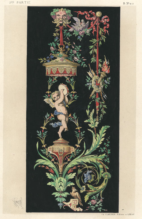 Dietterlin Cherub decoration by Wendel Dietterlin. Claesen antique print c1870