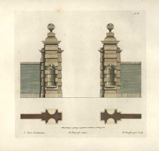 Posts for a Grand Gate of a walled property c1757