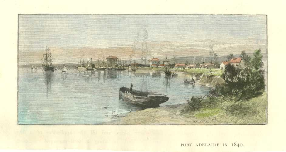 Port Adelaide in 1840. Antique Print c1886.