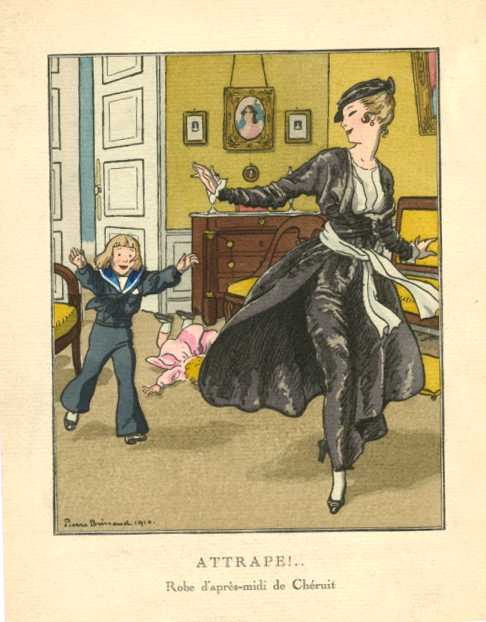 Children chasing Mother. Attrapé! (Caught). Brissaud fashion pochoir