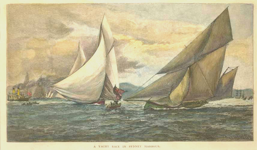 Yacht Race in Sydney Harbour in Australia. Engraving c1886