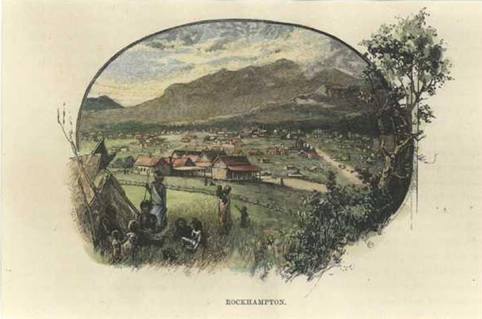 QLD. Rockhampton view, with aborigines. Hand-coloured antique engraving c1889