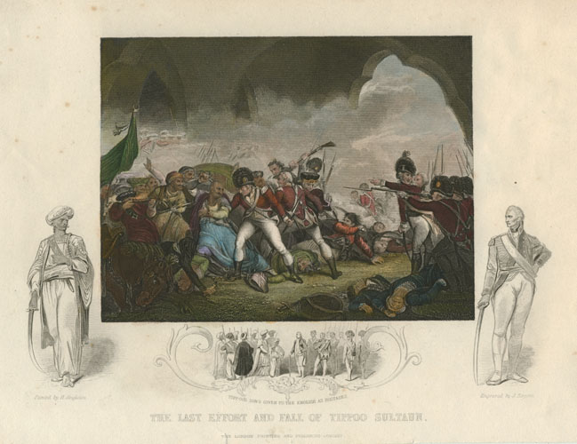 Tallis. Tippoo Sultaun's last effort. Tipu Sultan, Anglo-Mysore war. Engraving c1856
