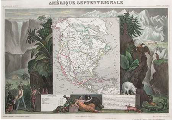 Amerique Septentrionale. Beautiful North America antique map c1854. Levasseur